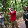 (from left) David Hollie, a Pittsburg State graduate from Ringgold, Ga., Andrew George, PSU assistant professor of biology, and Michael Barnes, a PSU graduate student from Hendersonville, Tenn., look for birds at Wilderness Park in Frontenac on Thursday.<br /> Globe | Roger Nomer