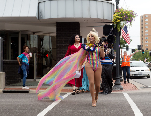 Vega Markstone Hunter, Miss Gay Missouri America 2019, leads a Pride March during Saturday's Downtown Diversity Pridefest in Joplin.<br /> Globe | Roger Nomer