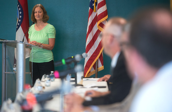 Moderator Judy Stiles addresses the candidates during Thursday's forum at Missouri Southern.<br /> Globe | Roger Nomer