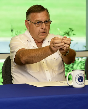 Rick Bronson talks about the inspiration behind his family's $1 million gift to Ozark Christian College on Wednesday at OCC.<br /> Globe | Laurie Sisk