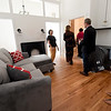 Pittsburg city officials tour a student apartment inside the National Bank Building - part of the Block22 project - on Tuesday in downtown Pittsburg.<br /> Globe   Laurie Sisk