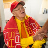 Jack Overman receives birthday wishes during his 100th birthday celebration on Thursday at the Overman Student Center at Pittsburg State University.<br /> Globe | Roger Nomer