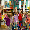 Hsianglan Eschenbrenner, teachers aide, lines up her class to wash hands on Wednesday at Midtown Head Start.<br /> Globe | Roger Nomer