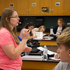 Dione Friel teaches a science class at Carl Junction High School on Thursday.<br /> Globe | Roger Nomer