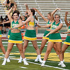 Missouri Southern cheerleaders get the spirit going during the MSSU Fall Sports Kick-Off celebration on Saturday night at Fred G. Hughes Stadium.<br /> Globe | Laurie Sisk