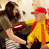 Brittany Worthington, a Pittsburg State senior from Jasper, Mo., talks with Jack Overman during his 100th birthday celebration on Thursday at the Overman Student Center.<br /> Globe | Roger Nomer