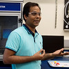 Ram Gupta, associate professor in the chemistry department at Pittsburg State University, talks about a battery that uses coffee grounds on Monday at PSU.<br /> Globe | Roger Nomer