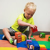 Elijah Ward, 3, plays with blocks at the Cerebral Palsy of Tri-County Center in Webb City on Tuesday.<br /> Globe | Roger Nomer