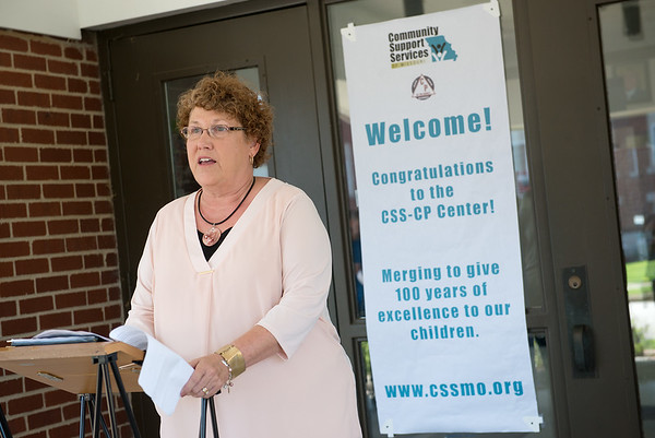 Christy Graham, executive director of Cerebral Palsy of Tri-County, talks about the merger with Community Support Services on Tuesday at the Center.<br /> Globe | Roger Nomer