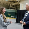 Sarah Schultz, a Missouri Southern senior from Riverton and Student Senate president, talks with MSSU President Alan Marble during rehearsal for the First-Year Student Convocation at Leggett and Platt Athletic Center on Friday.<br /> Globe | Roger Nomer