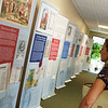 Joy Crockett, Baxter Springs, checks out an exhibit on the Magna Carta at the Baxter Springs Heritage Museum on Friday. The exhibit runs through Aug. 17, and then moves on to Parsons.<br /> Globe   Roger Nomer