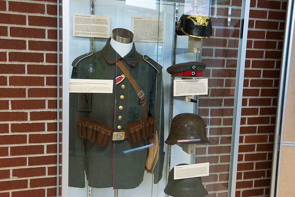 A German uniform is on display as part of a World War I exhibit at the Joplin History Museum.<br /> Globe | Roger Nomer