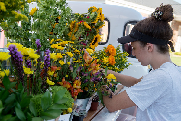 Kaylee Cristy, co-owner of Joyfield Flower Truck, organizes flowers at her booth at Carl Junction's Second Tuesday event.<br /> Globe | Roger Nomer