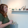 Angel Brame talks about her teapots on Wednesday at the Spiva Center for the Arts.<br /> Globe   Roger Nomer