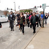Developer Matt Burton, left,  leads city officials and members of the media on a tour of the Block22 project on Tuesday in downtown Pittsburg.<br /> Globe   Laurie Sisk