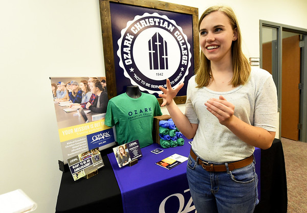 Ozark Christian College Student Ambassadors talks about renovations she would like to see to OCC dorms on Wednesday at OCC.<br /> Globe | Laurie Sisk