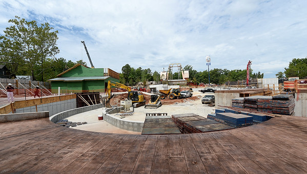 Construction continues in Rivertown at Silver Dollar City. The new area will feature Mystic River Falls and the Rivertown Smokehouse - a restaurant specializing in BBQ.<br /> Globe | Laurie SIsk