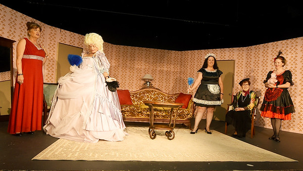 """From the left: Shannon Wendt (as Deedra,)  Susie Lundy (Monette Antoinette,) Sheri Browne (Charlie,) Judy Boyd ( Sedalia) and Misty Hammer (Libby Ruth) rehearse their roles for the upcoming Stone's Throw Dinner Theatre production of """"Always a Bridesmaid,"""" which opens August 16 at the Carthage theatre.<br /> Globe 