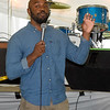 Kansas City-based gospel comedian Nick Cornell entertains the crowd on Friday night under the big tent during the annual Emancipation Park Days at Ewert Park. The three-day event featured music, games, food and more.<br /> Globe | Laurie SIsk