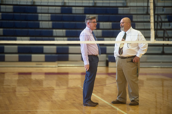 Joplin High Principal Steve Gilbreth, left, talks with Greg Boyd, assistant principal, before a rally on Thursday at the school.<br /> Globe | Roger Nomer