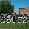 Abigail, left, and Kyleigh Carel pose for a photo before their first day of school at Cecil Floyd Elementary on Thursday.<br /> Globe | Roger Nomer