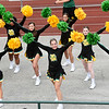 "Missouri Southern cheerleaders rev up the fans during the Missouri Southern Fall Kick-Off event on Saturday at Fred G. Hughes Stadium. The event featured autograph signing by MSSU athletes and a showing of the movie ""Moana"" on the big screen at the stadium.<br /> Globe 