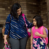 Sritapa Patnaik talk with her daughter Arika before her first day of kindergarten at Cecil Floyd Elementary on Thursday.<br /> Globe | Roger Nomer