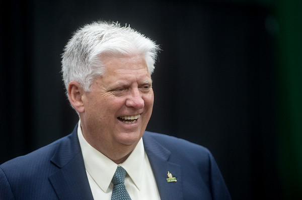 Missouri Southern President Alan Marble talks with university staff during rehearsal for the First-Year Student Convocation at Leggett and Platt Athletic Center on Friday.<br /> Globe | Roger Nomer