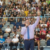 Joplin High Principal Steve Gilbreth addresses students at Joplin High School during a welcome back rally on Thursday at the school.<br /> Globe | Roger Nomer