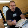 Robert Lolley, transit director, gives a rider survey on Wednesday in Joplin.<br /> Globe | Roger Nomer