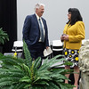 Missouri Southern President Alan Marble talks with Paula Carson, provost and vice president of academic affairs, during rehearsal for the First-Year Student Convocation at Leggett and Platt Athletic Center on Friday.<br /> Globe | Roger Nomer
