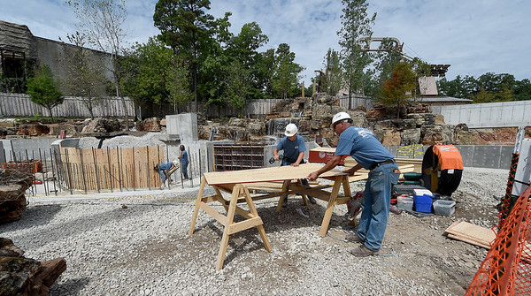 Workers continue construction of River Town on Tuesday at Silver Dollar City.<br /> Globe | Laurie Sisk