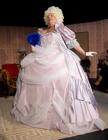 "Susie Lundy rehearses her role as Monette Antoinette for the upcoming Stone's Throw Dinner Theatre production of ""Always a Bridesmaid,"" which opens August 16 at the Carthage theatre.<br /> Globe 