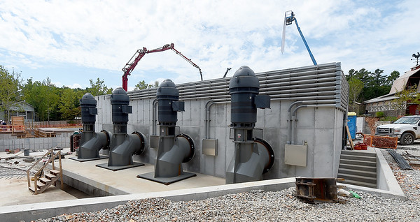 Four pumps with a combined ability of pushing 200,000 gallons of water per minute will power Silver Dollar City's newest attraction, Mystic River Falls, which is slated to open in Summer 2020 in a new area called Rivertown.<br /> Globe | Laurie SIsk