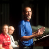 Lorin Curtis gives a speech during Monday's back-to-school rally at Joplin High School. Curtis was recognized as the Joplin teacher of the year during the rally.<br /> Globe | Roger Nomer