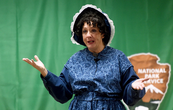 Rebecca Now portrays Elizabeth Cady Stanton, an abolitionist, human rights activist and one of the original leaders in the fight for women's rights during Storytelling Days on Saturday at George Washongton Carver National Monument. Now was one of six people who portrayed figures such as Cesar Chavez and others in the two-day event.<br /> Globe | Laurie Sisk