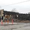 Globe/Roger Nomer<br /> The 1600 block of Main Street remains dark following last night's fire.