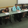 Globe/Roger Nomer<br /> Missouri Southern students signing on to be interns for the coming legislative session on Friday include (from left) Cory Garr, Stover freshman, Brenna Barksdale, Carthage senior, Johnny Boyer, Goodman junior, Laurna Alumbaugh, Joplin sophomore, Keegan Tinny, Joplin sophomore and Tristan Routledge, Joplin senior.