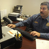 Globe/Roger Nomer<br /> Randee Kaiser works in his office at the Carthage Police Department on Friday morning.  Kaiser is the new Jasper County Sheriff.