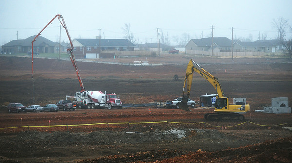 Globe/Roger Nomer<br /> Construction continues at the Joplin High School site on Friday afternoon.