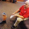 Globe/Roger Nomer<br /> Chuck Harper talks about the process of learning to walk (and drive) with two prosthetic legs during an interview at PSU on Thursday.  Harper will graduate tonight from PSU.