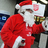 "Globe/Roger Nomer<br /> Salvation Army Bell Ringer Florencio ""Pepper"" Ramirez greets people at Price Cutter on Maiden Lane on Friday afternoon."