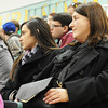 Virginia Wiseman (right), sociology major, sits next to her daughter Rose Dominguez, elementary education major, during a graduation rehearsal Wednesday afternoon, Dec. 11, 2013, in Leggett & Platt Athletic Center, MSSU. They will be graduating from Missouri Southern State University at the same time this month.<br /> Globe | T. Rob Brown