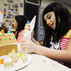 Seven-year-old Isabella Poor of Joplin adds icing for more animal crackers to the scenic base around her graham cracker house during an art class Saturday afternoon, Dec. 21, 2013, at Spiva Center for the Arts in downtown Joplin.<br /> Globe | T. Rob Brown