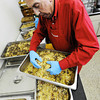 Church member and volunteer Gene Delano adds the secret ingredient, sausage, to the dressing for the Christmas Dinner Monday morning Dec. 23, 2013, at First Community Church in Joplin. The Christmas Dinner will be held from 11 a.m. to 2 p.m. Christmas Day.<br /> Globe | T. Rob Brown