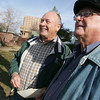 Globe/Roger Nomer<br /> James, left, and Earl Miller talk about their uncle Norman Miller.