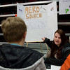 Globe/Roger Nomer<br /> Alex Crow, an eighth grader at East Middle School, talks about her comic creation on Friday during Comic-Con at the school.