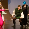 "Globe/Roger Nomer<br /> Kayln Jordan, as Maid Marian, left, Andrew Chesney, as Robin Hood, and Jacy Beeler, as Lady Merle, rehearse a scene from ""Robin Hood"" on Monday at Joplin High School."