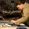 Globe/Roger Nomer<br /> Angie Gastel paints a stencil in her studio on Friday, Dec. 16, in Jasper.