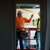 Globe/Roger Nomer<br /> Mitch Edwards, left, and Joseph Bennett, with PCI, measure on Thursday at the new Joplin Public Library.